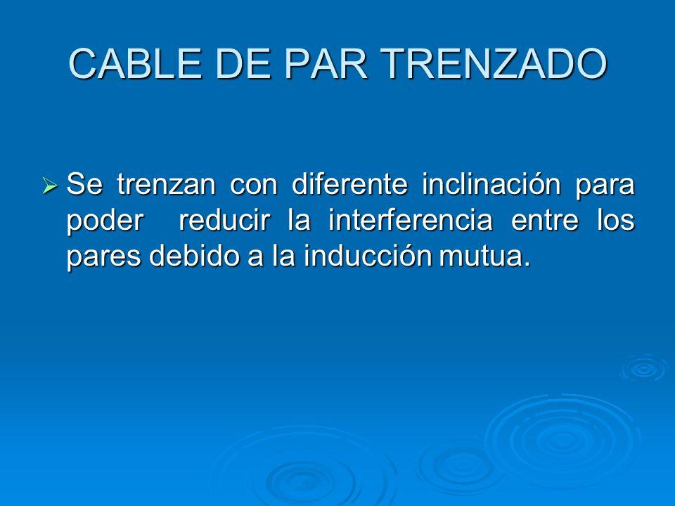 CABLE DE PAR TRENZADO Se trenzan con diferente inclinación para poder reducir la interferencia entre los pares debido a la inducción mutua.