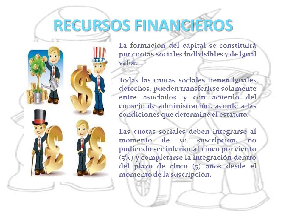 RECURSOS FINANCIEROS La formación del capital se constituirá por cuotas sociales indivisibles y de igual valor.