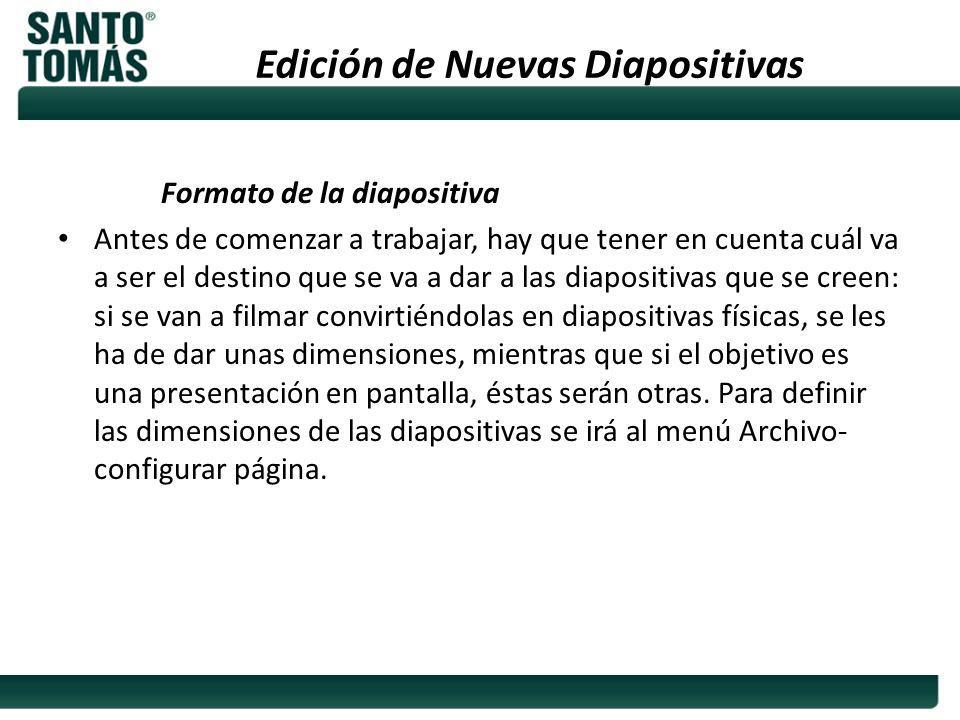 Edición de Nuevas Diapositivas