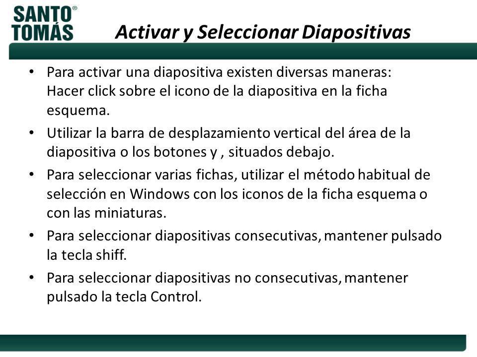 Activar y Seleccionar Diapositivas