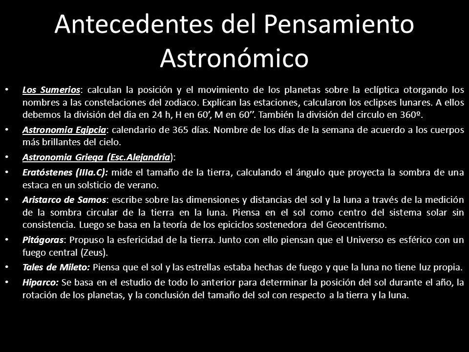 Antecedentes del Pensamiento Astronómico