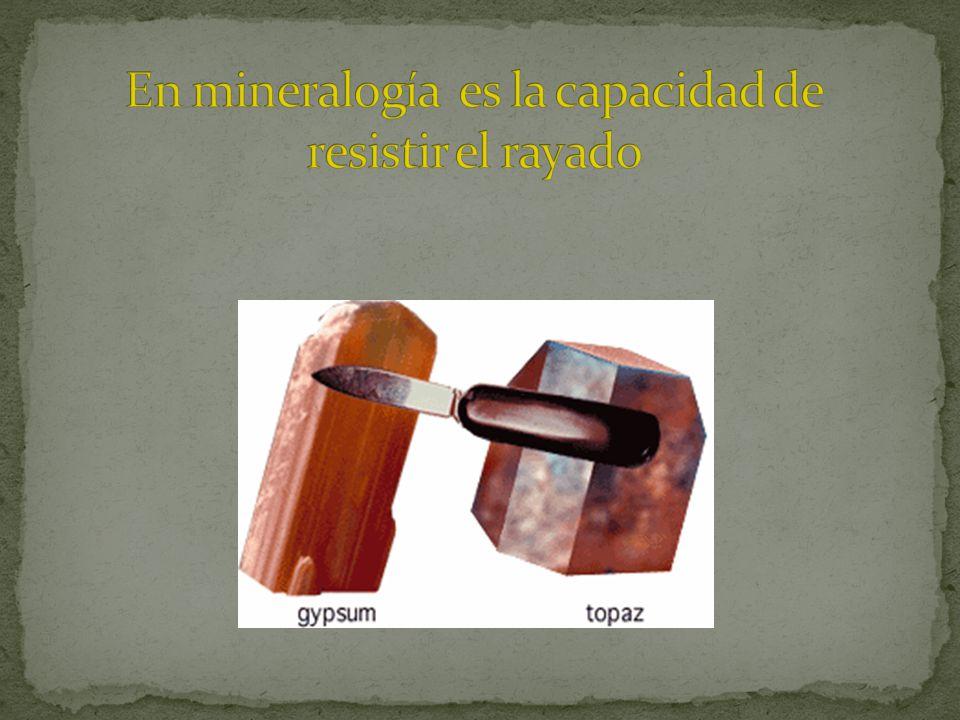 En mineralogía es la capacidad de resistir el rayado