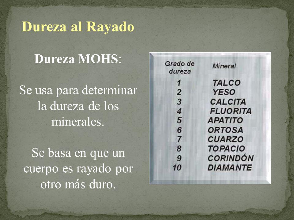 Dureza al Rayado Dureza MOHS:
