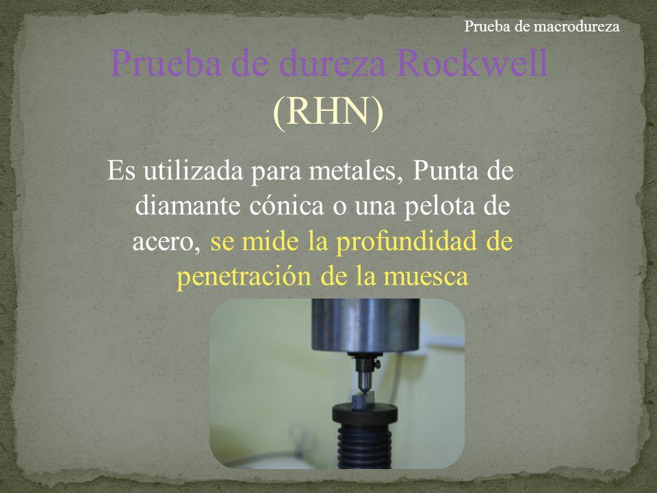 Prueba de dureza Rockwell (RHN)