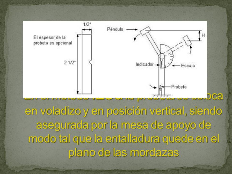 En el método Izod la probeta se coloca en voladizo y en posición vertical, siendo asegurada por la mesa de apoyo de modo tal que la entalladura quede en el plano de las mordazas