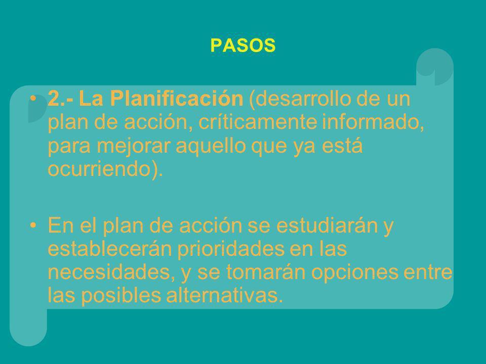PASOS 2.- La Planificación (desarrollo de un plan de acción, críticamente informado, para mejorar aquello que ya está ocurriendo).
