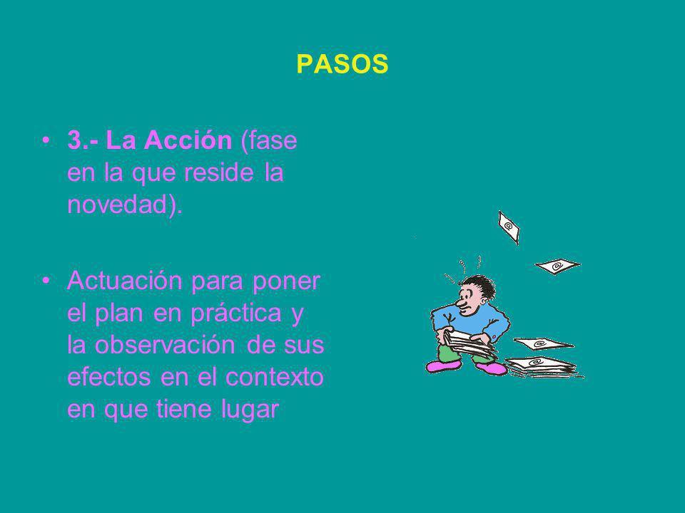 PASOS 3.- La Acción (fase en la que reside la novedad).