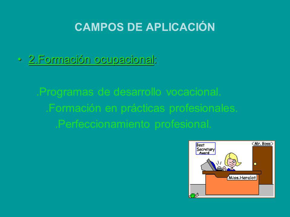 CAMPOS DE APLICACIÓN 2.Formación ocupacional: .Programas de desarrollo vocacional. .Formación en prácticas profesionales.