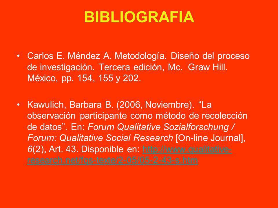 BIBLIOGRAFIA Carlos E. Méndez A. Metodología. Diseño del proceso de investigación. Tercera edición, Mc. Graw Hill. México, pp. 154, 155 y 202.