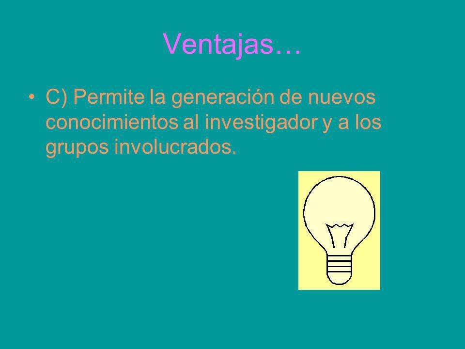 Ventajas…C) Permite la generación de nuevos conocimientos al investigador y a los grupos involucrados.