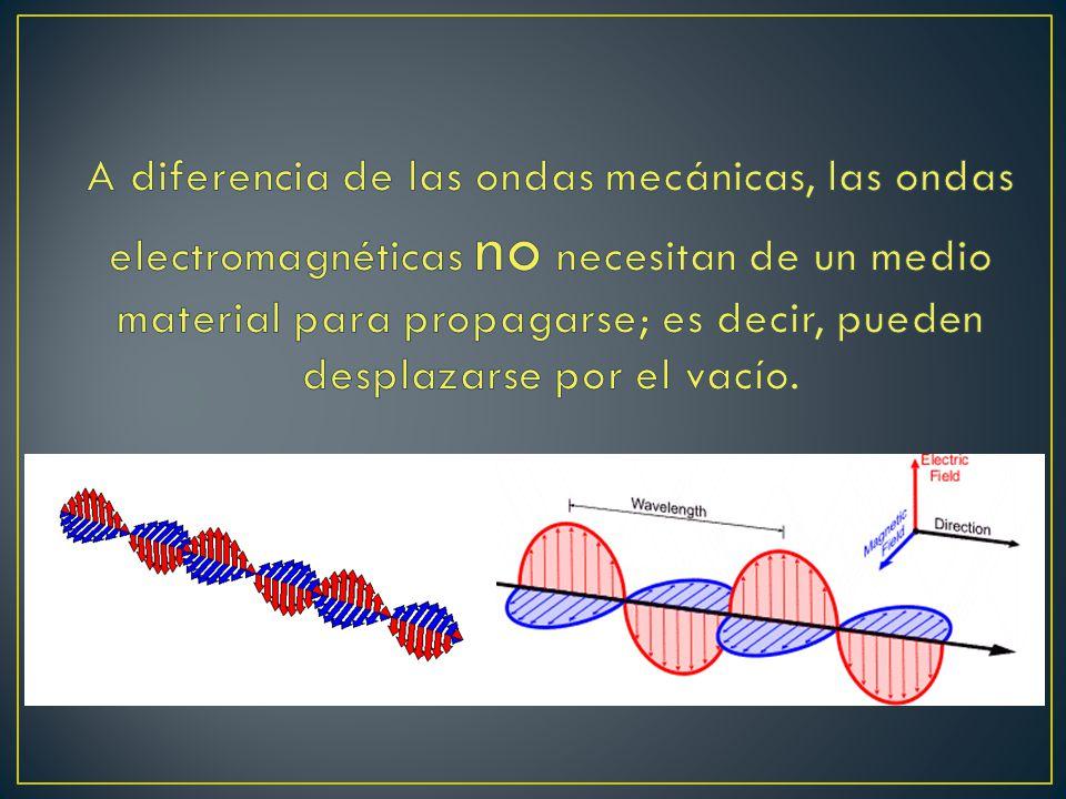 A diferencia de las ondas mecánicas, las ondas electromagnéticas no necesitan de un medio material para propagarse; es decir, pueden desplazarse por el vacío.