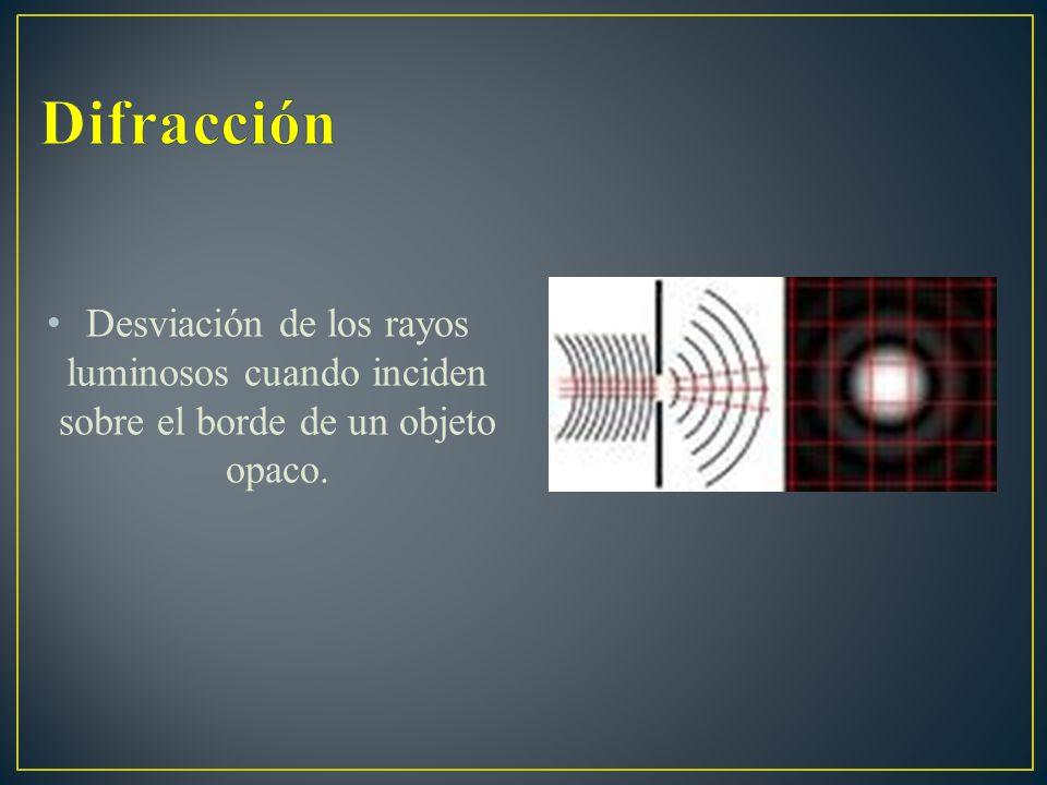Difracción Desviación de los rayos luminosos cuando inciden sobre el borde de un objeto opaco.