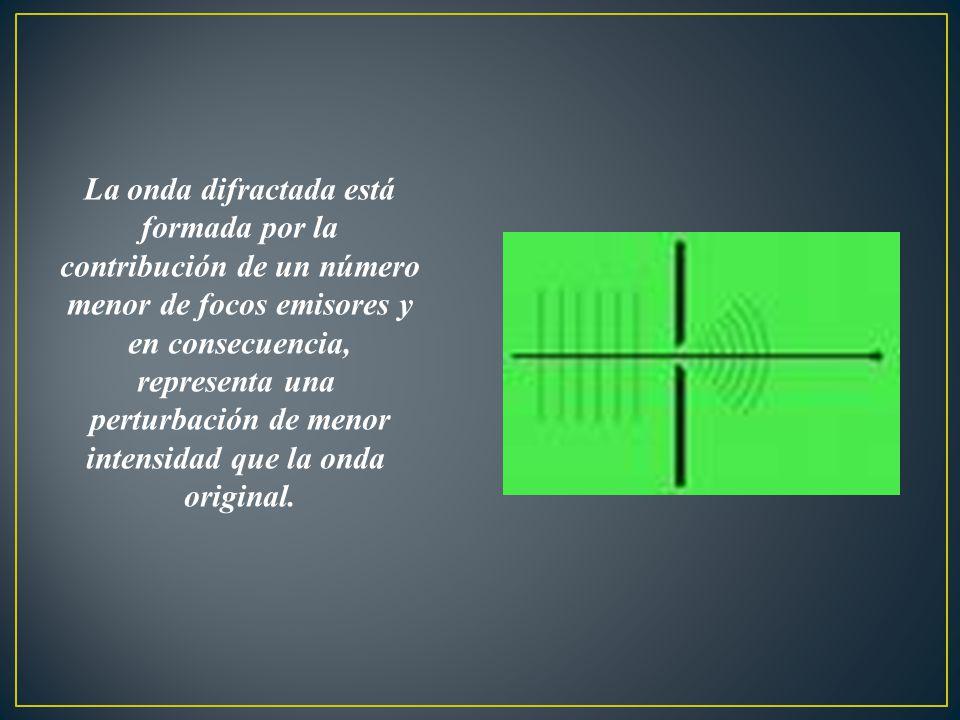 La onda difractada está formada por la contribución de un número menor de focos emisores y en consecuencia, representa una perturbación de menor intensidad que la onda original.