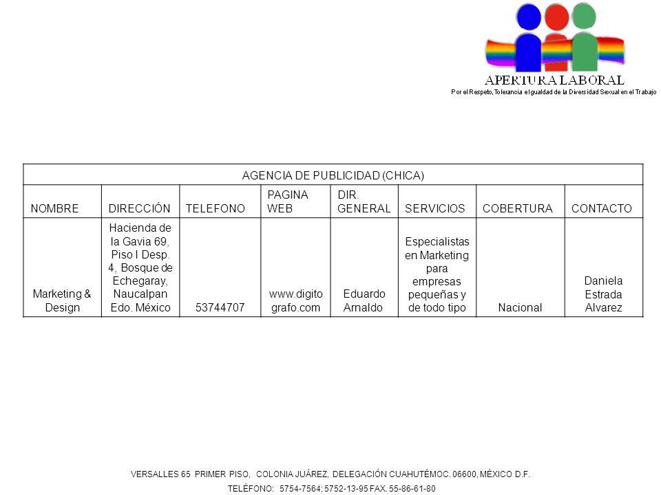 AGENCIA DE PUBLICIDAD (CHICA) NOMBRE DIRECCIÓN TELEFONO PAGINA WEB
