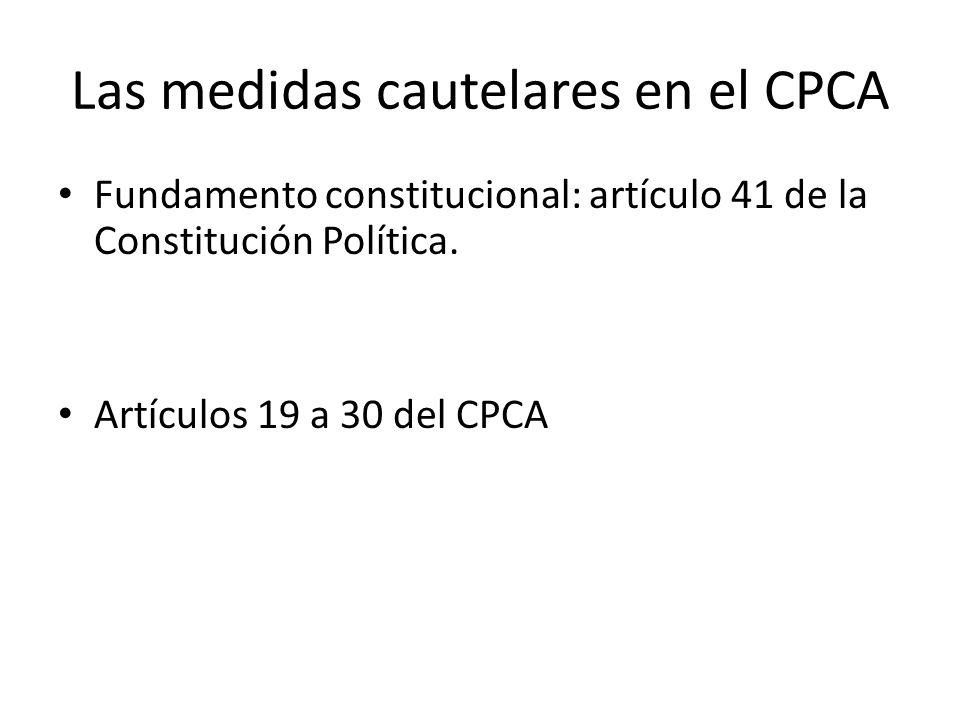 Las medidas cautelares en el CPCA