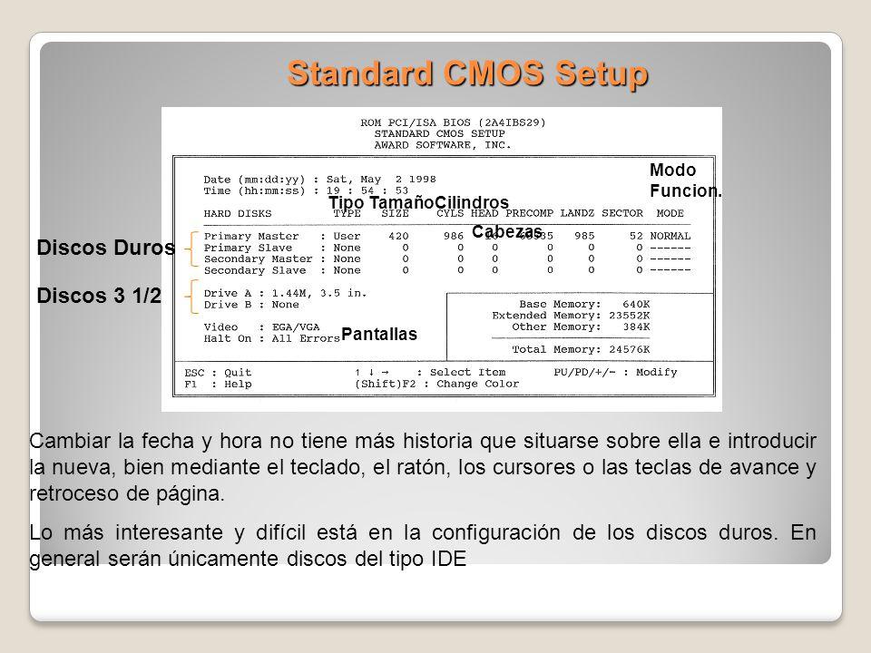 Standard CMOS Setup Discos Duros Discos 3 1/2