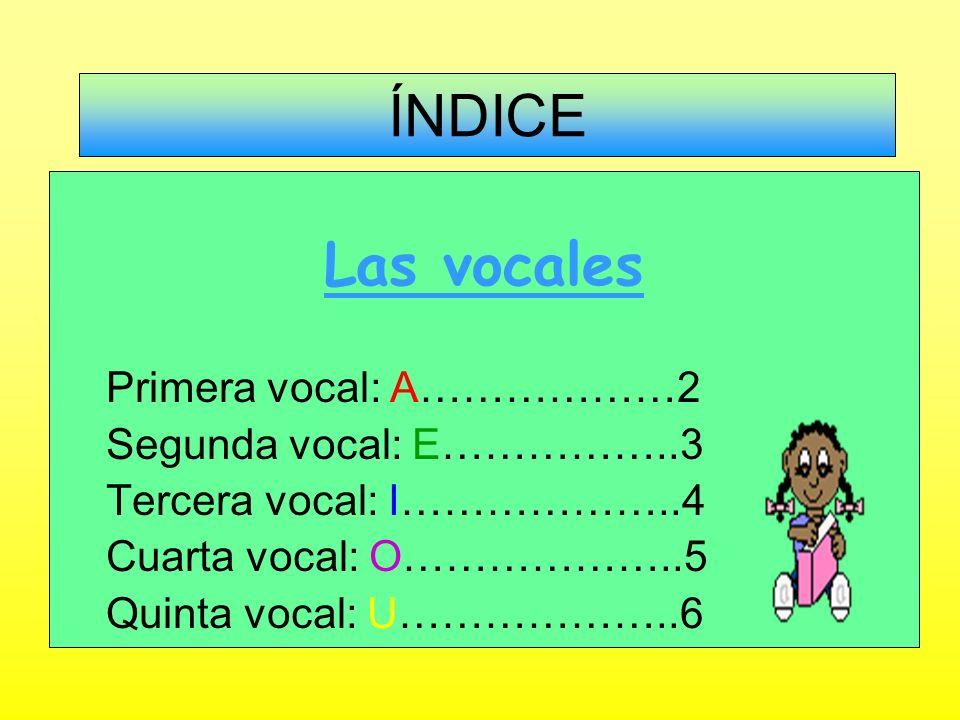 ÍNDICE Las vocales Primera vocal: A………………2 Segunda vocal: E……………..3