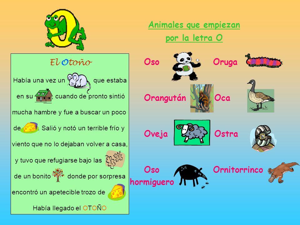 Animales que empiezan por la letra O Oso Oruga Orangután Oca El Otoño