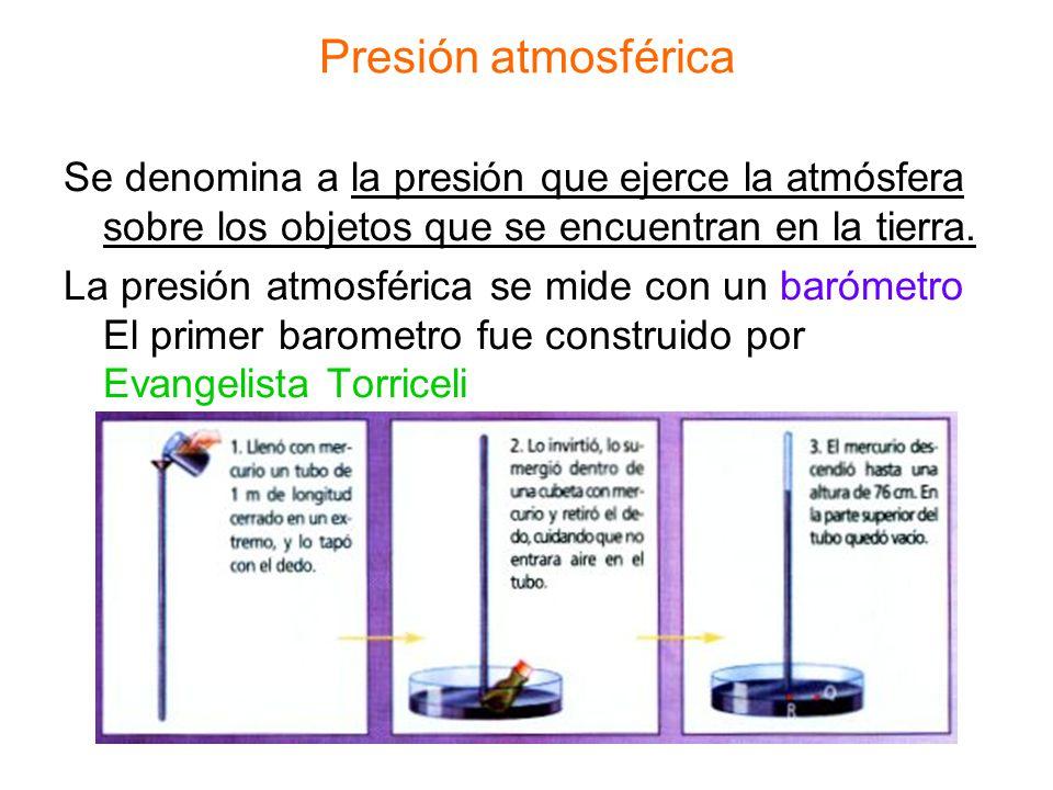 Presión atmosférica Se denomina a la presión que ejerce la atmósfera sobre los objetos que se encuentran en la tierra.
