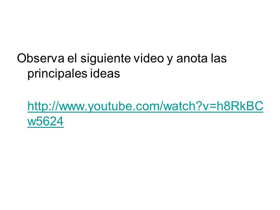 Observa el siguiente video y anota las principales ideas