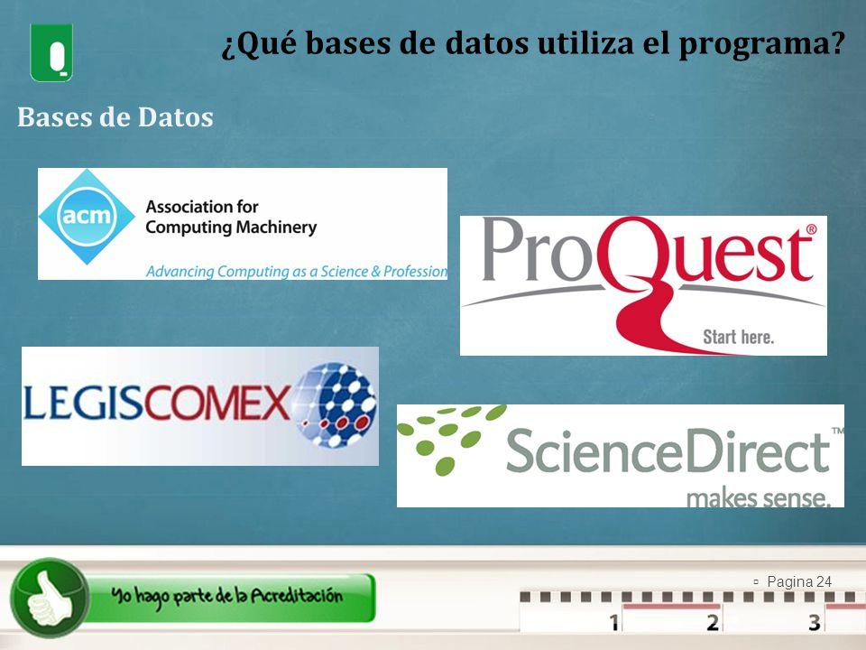 ¿Qué bases de datos utiliza el programa