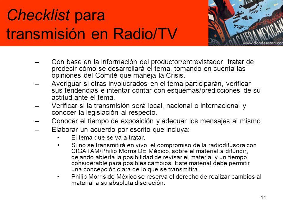 Checklist para transmisión en Radio/TV