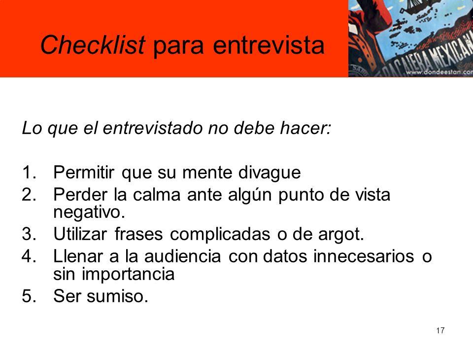 Checklist para entrevista