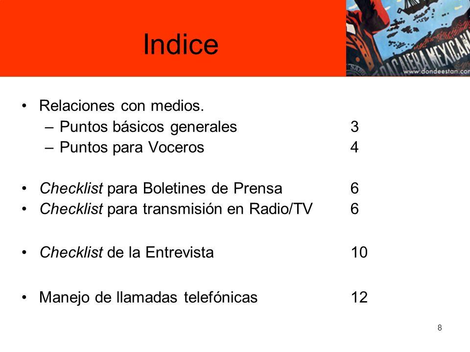 Indice Relaciones con medios. Puntos básicos generales 3