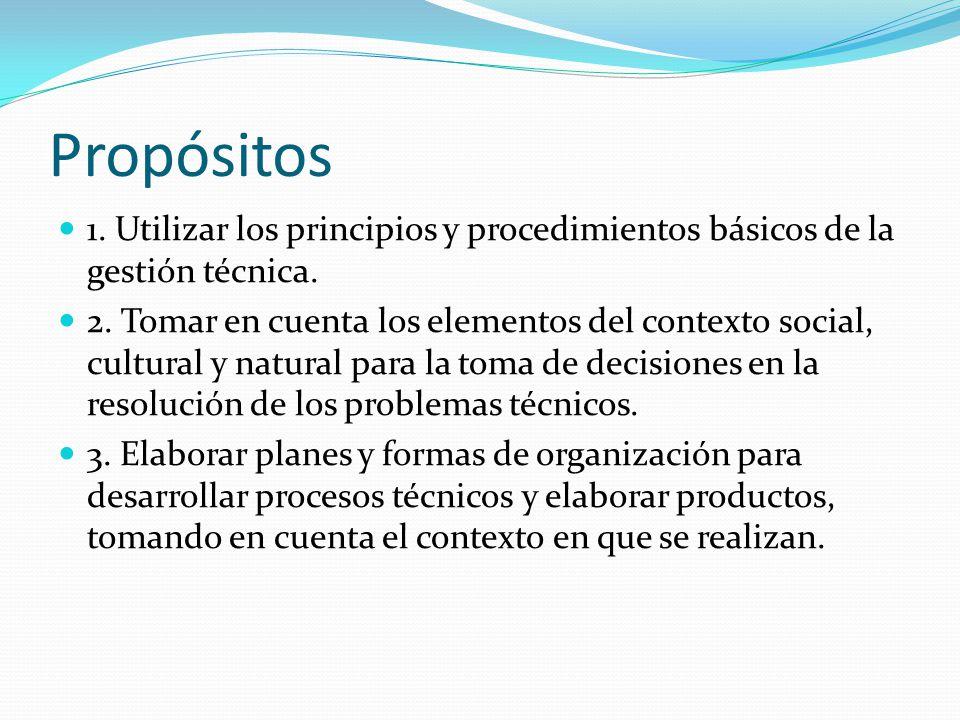 Propósitos 1. Utilizar los principios y procedimientos básicos de la gestión técnica.