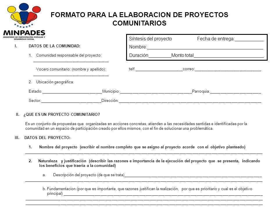 FORMATO PARA LA ELABORACION DE PROYECTOS COMUNITARIOS