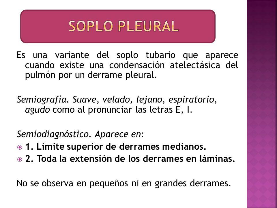 Soplo pleural Es una variante del soplo tubario que aparece cuando existe una condensación atelectásica del pulmón por un derrame pleural.