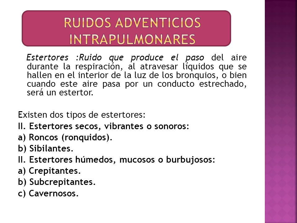 Ruidos adventicios intrapulmonares