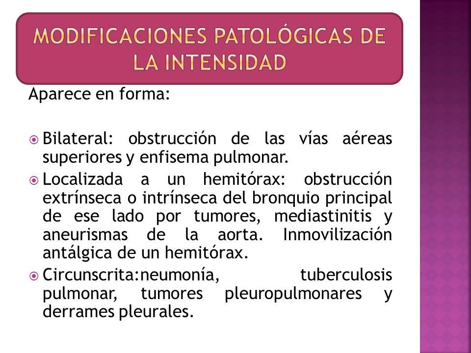 Modificaciones patológicas de la intensidad