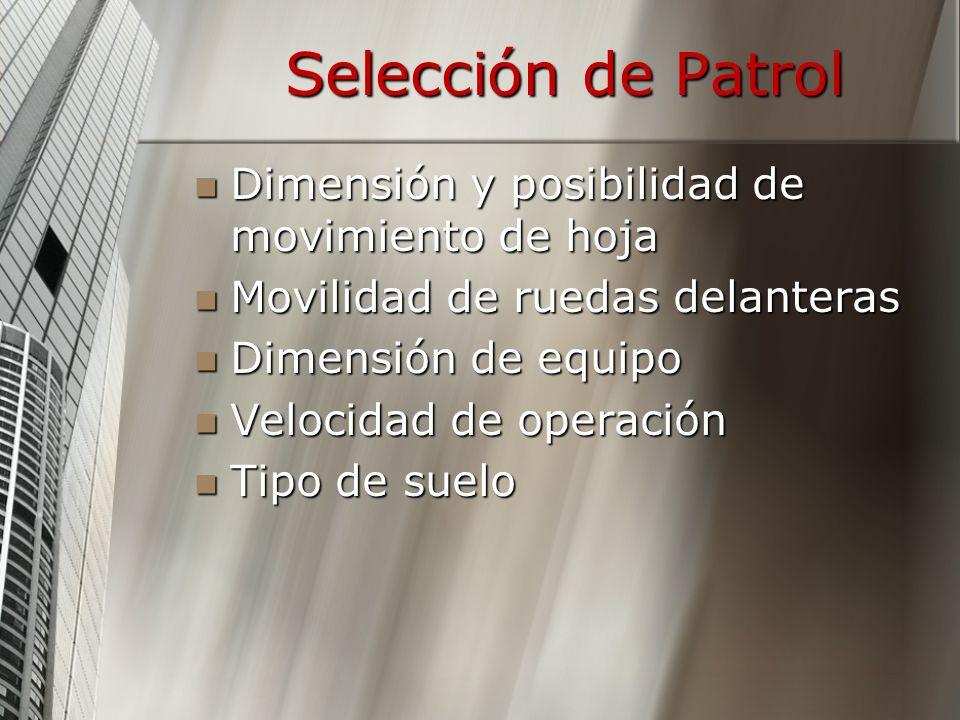 Selección de Patrol Dimensión y posibilidad de movimiento de hoja