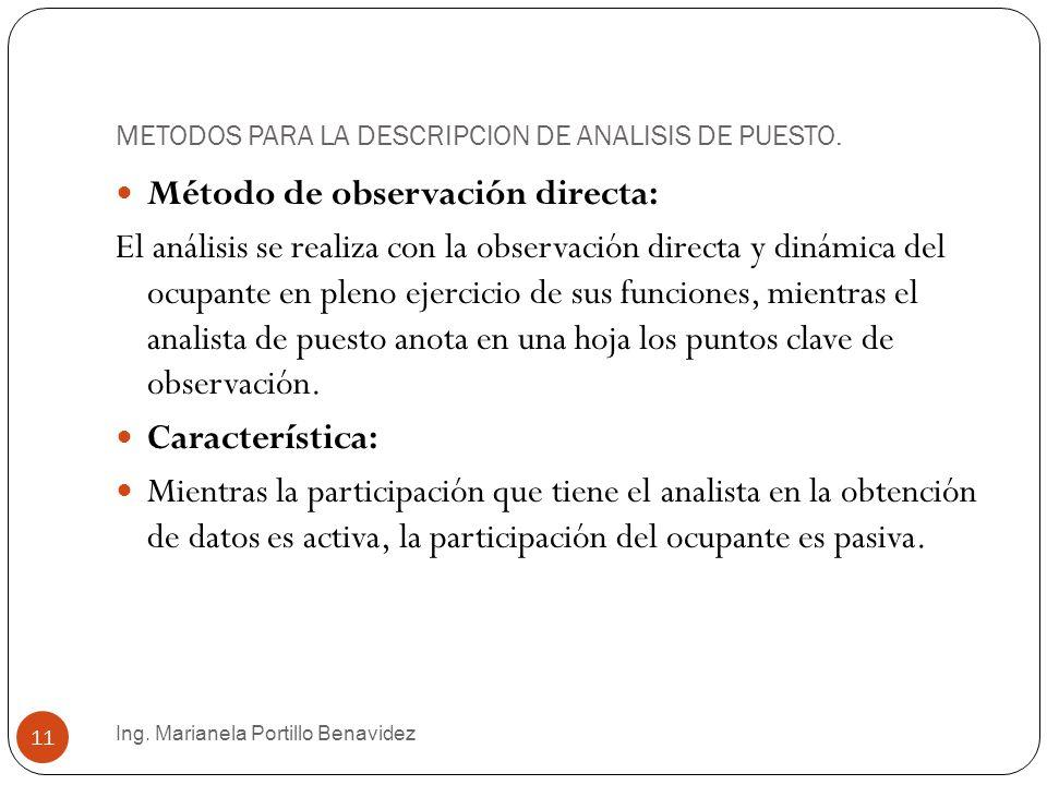 METODOS PARA LA DESCRIPCION DE ANALISIS DE PUESTO.