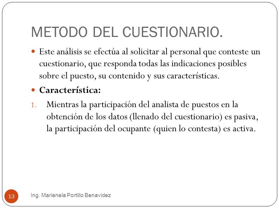 METODO DEL CUESTIONARIO.