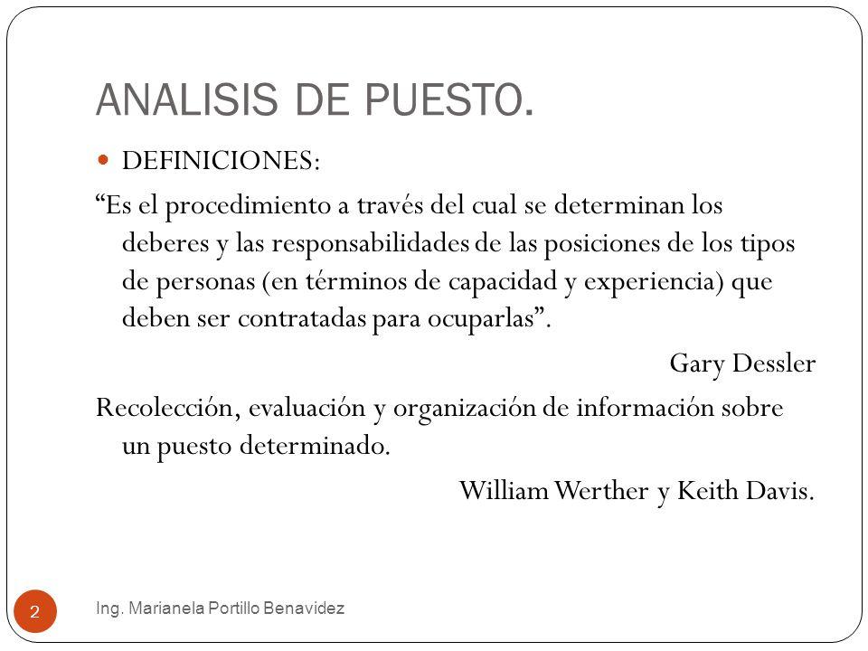 ANALISIS DE PUESTO. DEFINICIONES: