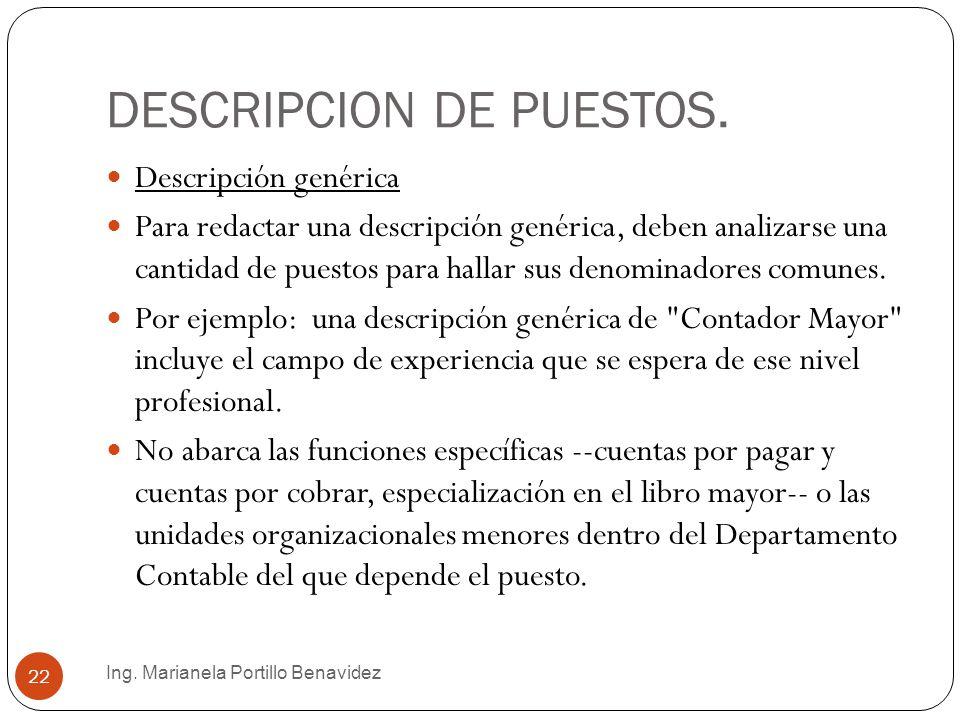 DESCRIPCION DE PUESTOS.
