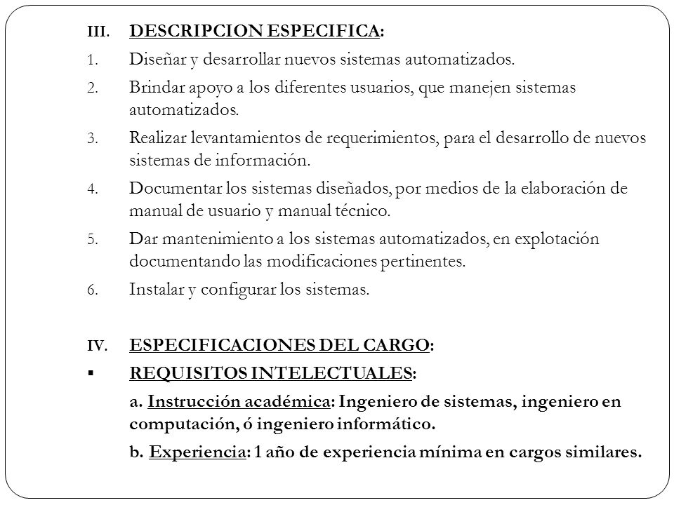 DESCRIPCION ESPECIFICA: