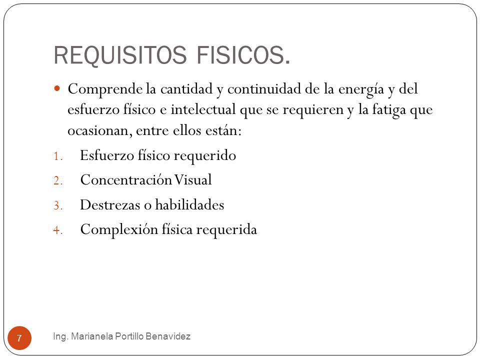 REQUISITOS FISICOS.