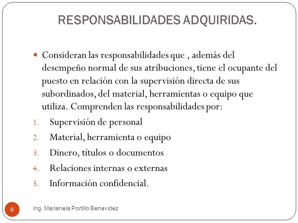 RESPONSABILIDADES ADQUIRIDAS.