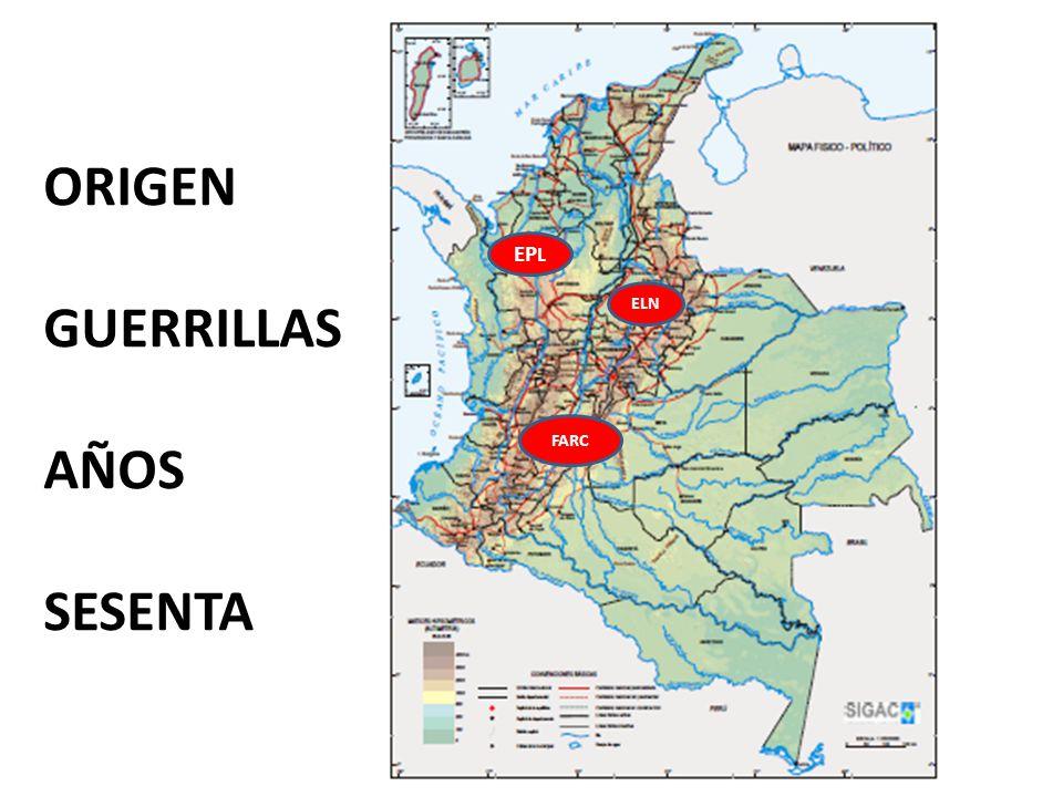 ORIGEN GUERRILLAS AÑOS SESENTA EPL ELN FARC