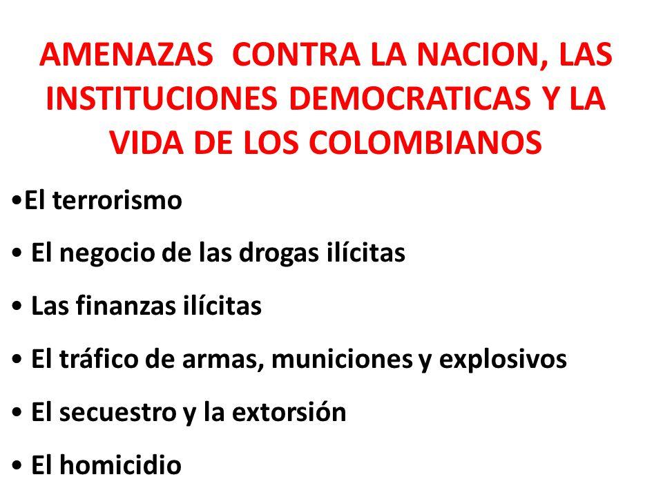 AMENAZAS CONTRA LA NACION, LAS INSTITUCIONES DEMOCRATICAS Y LA VIDA DE LOS COLOMBIANOS