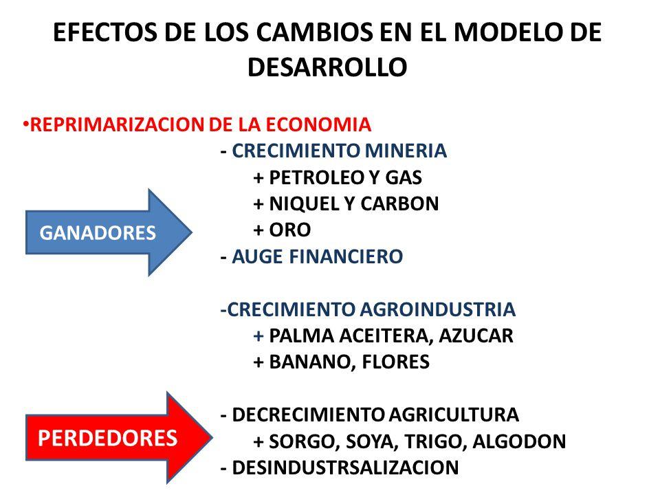 EFECTOS DE LOS CAMBIOS EN EL MODELO DE DESARROLLO