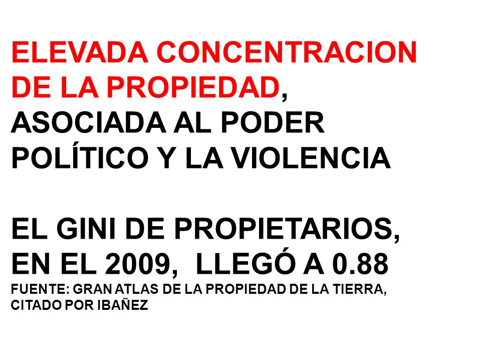 EL GINI DE PROPIETARIOS, EN EL 2009, LLEGÓ A 0.88