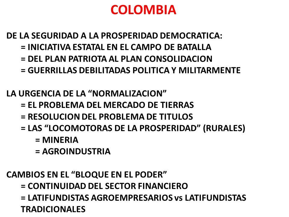 COLOMBIA DE LA SEGURIDAD A LA PROSPERIDAD DEMOCRATICA: