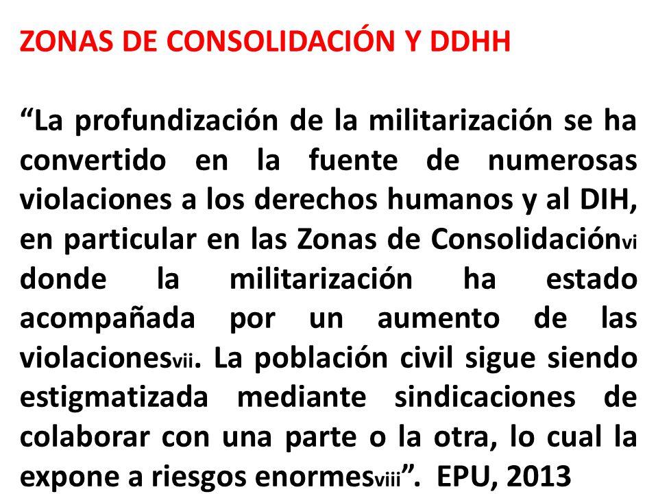 ZONAS DE CONSOLIDACIÓN Y DDHH