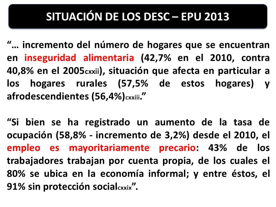SITUACIÓN DE LOS DESC – EPU 2013