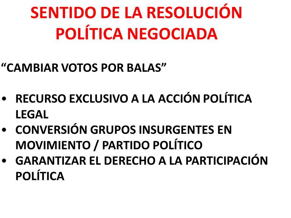 SENTIDO DE LA RESOLUCIÓN POLÍTICA NEGOCIADA