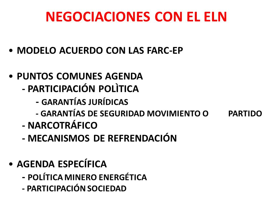 NEGOCIACIONES CON EL ELN